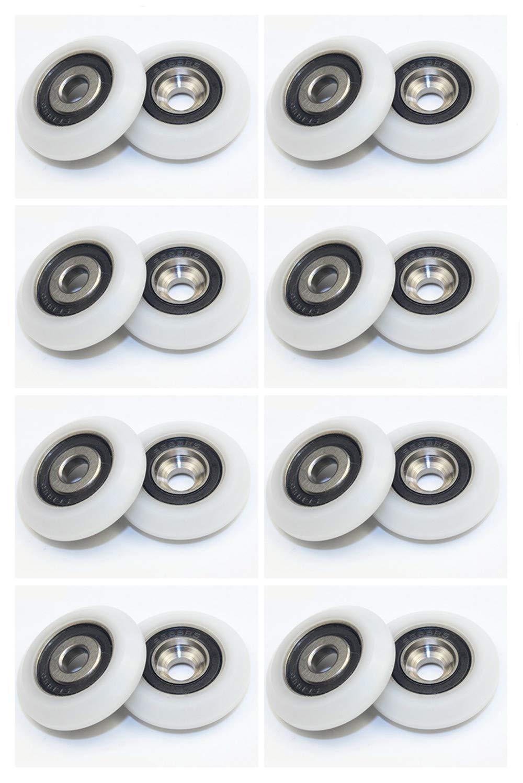 5x20x6mm Stillshine 16PCS Ruedas de rodamientos de bolas para puerta de vidrio,puerta de ducha,Cabinas de ducha de rodillos,Gu/ía de rodillos y rueda