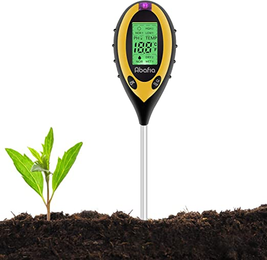 Abafia Medidor de pH del Suelo, 4 EN 1 Suelo Tester Medidor de PH, Luz Solar, Temperatura, Medidor de Humedad para Plantas, Jardín, Granja, Interior, Exterior: Amazon.es: Jardín