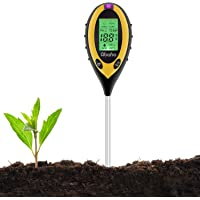 Abafia Bodemtester, 4-in-1 pH-meter voor bodemvochtigheid, PH, zonnelamp, temperatuur, bodemanalyseapparaat voor tuin…