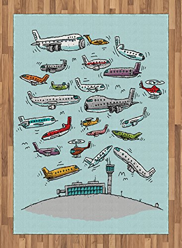 Airplane Area Rug by Ambesonne, Planes Fying in Air Aviation Love Airport Helicopters and Jets Cartoon Style Print, Flat Woven Accent Rug for Living Room Bedroom Dining Room, 5.2 x 7.5 FT, Multicolor by Ambesonne