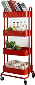 walsport 4-Tier Rolling Cart Metal Storage Organizer Utility Cart with Wheels for Kitchen Bathroom Bedroom, Red