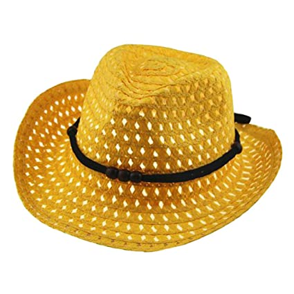 c88012f62be072 Amazon.com: ShenPourtor Women/Men's Summer Cool Short Brim Straw Fedora Sun  Hat WIth Stylish Hat Band (Baby_Yellow): Toys & Games