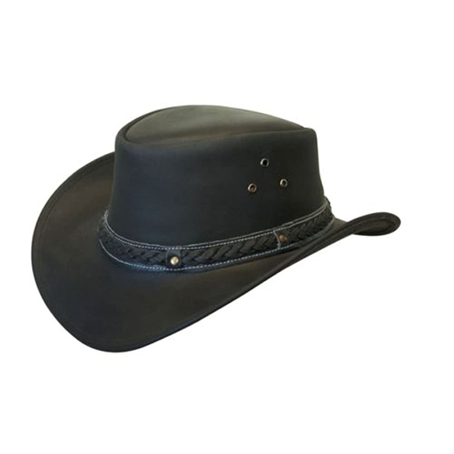 Lesa Collection LEATHER HAT AUSSIE BUSH STYLE Classic Western Outback Black