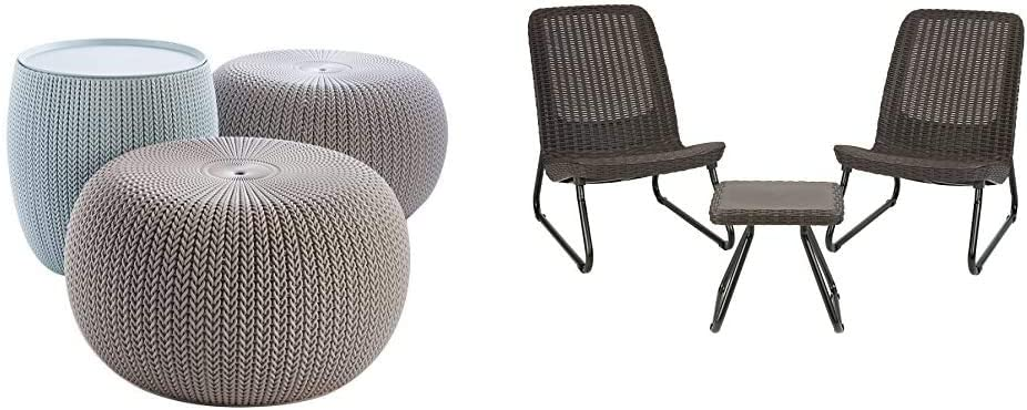 Keter Urban Knit Pouf Ottoman Set of 2 with Storage Table for Patio and Room Décor, Dune/Misty Blue & Rio 3 Piece Resin Wicker Patio Furniture Set with Side Table and Outdoor Chairs, Whiskey Brown