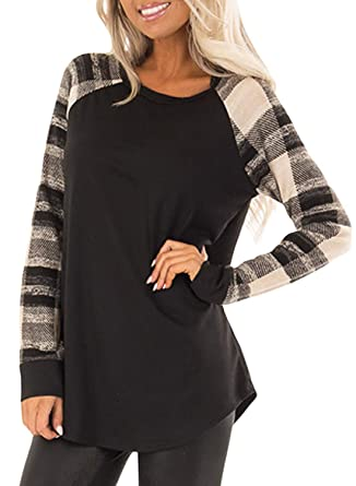 0bcbe57d3cc32 Womens Casual Color Block Long Sleeve Pullover Tops Loose Lightweight Tunic  Sweatshirt Small E-Check