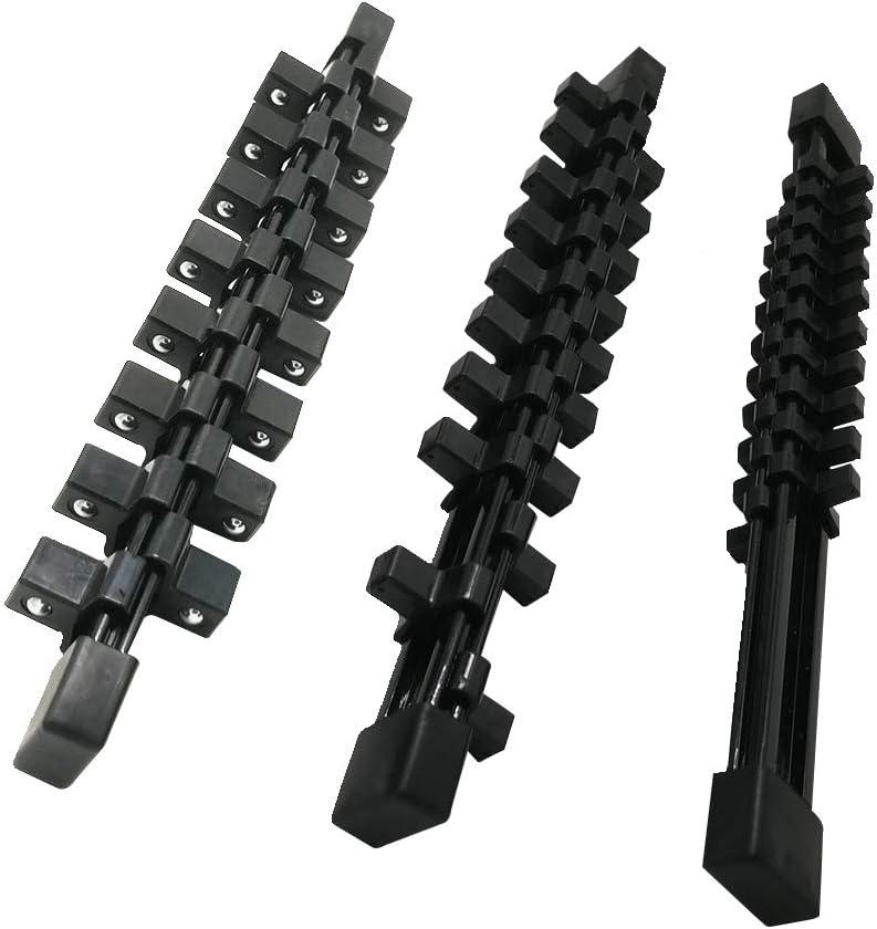 3-H Juego de llaves de vaso Juego de llaves de vaso barra soporte de almacenamiento organizador estante soporte Negro