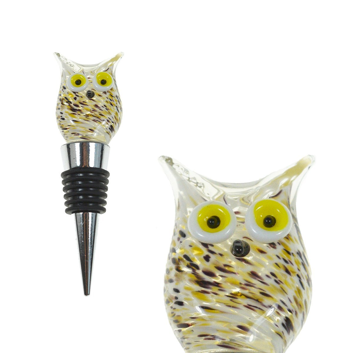 Colorful Wine Accessories Gift for Host//Hostess Handmade Decorative Wine Corker//Sealer PrestigeHaus Glass Owl Wine Bottle Stopper Unique Eye-Catching Glass Wine Stoppers