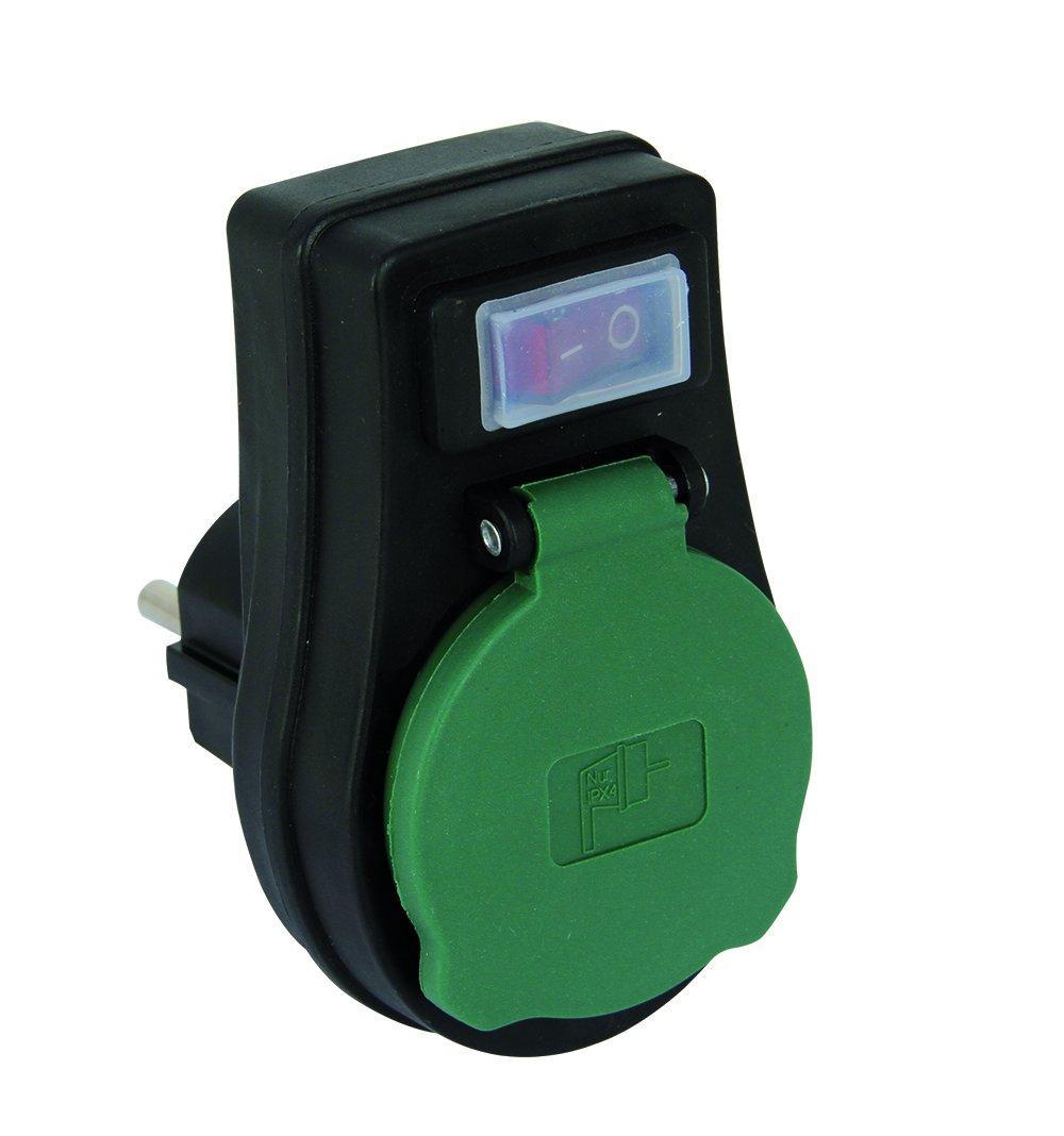 REV ADAPTER mit Schalter ǀ Zwischensteckdose spritzwassergeschü tzt IP44 mit ON/OFF Schalter ǀ mit Kindersicherung ǀ Farbe: schwarz-grü n 0020190502-EU