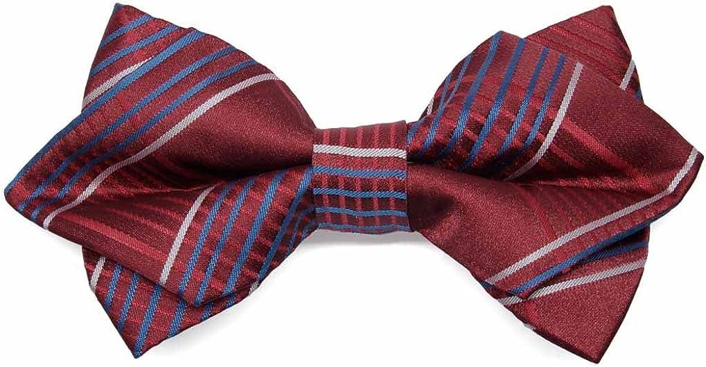 TieMart White Jeffrey Plaid Diamond Tip Bow Tie