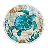 Wencal Ocean Style Sea Turtle Large Thicker Terry Cloth Round Beach Towel Blanket with Tassels Ultra, 60 Inch in Diameter