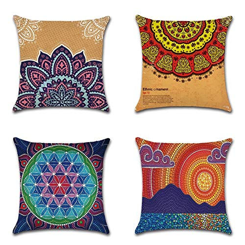 DZSW Throw Pillow Covers Natural Linen Look Fabric Christmas Decorative Sofa Square Cushion45X45cm (Color : Geometric…