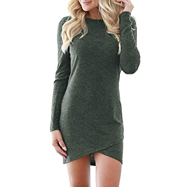 OrchidAmor Womens Solid Elegant Stretchy Long Sleeve T Shirt Short Club Mini Dress Green
