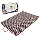 Large Waterproof Outdoor Blanket by MIUCOLOR, Sandproof Picnic Blanket for Camping Hiking Grass Travelling - Orange-Blue Plaid -Dual layers