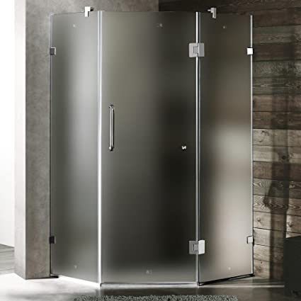 Neo Angle Door Frameless Frosted Shower Enclosure With Handle Bar