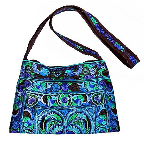 Borsa a tracolla con Ricamo tono su tono), colore: blu, realizzata con cotone di JOE COOL