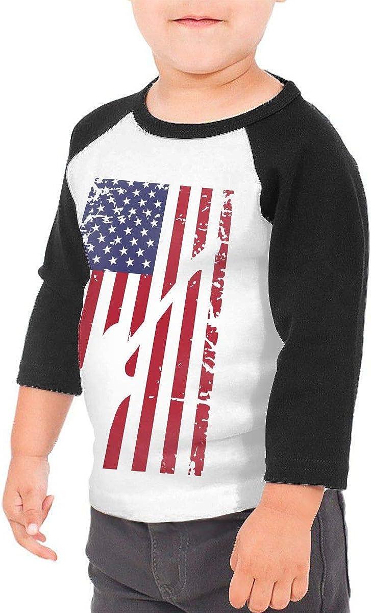 QPKMRTZTX0 Boys Girls Kids /& Toddler Guitar American Flag Long Sleeve Tees 100/% Cotton