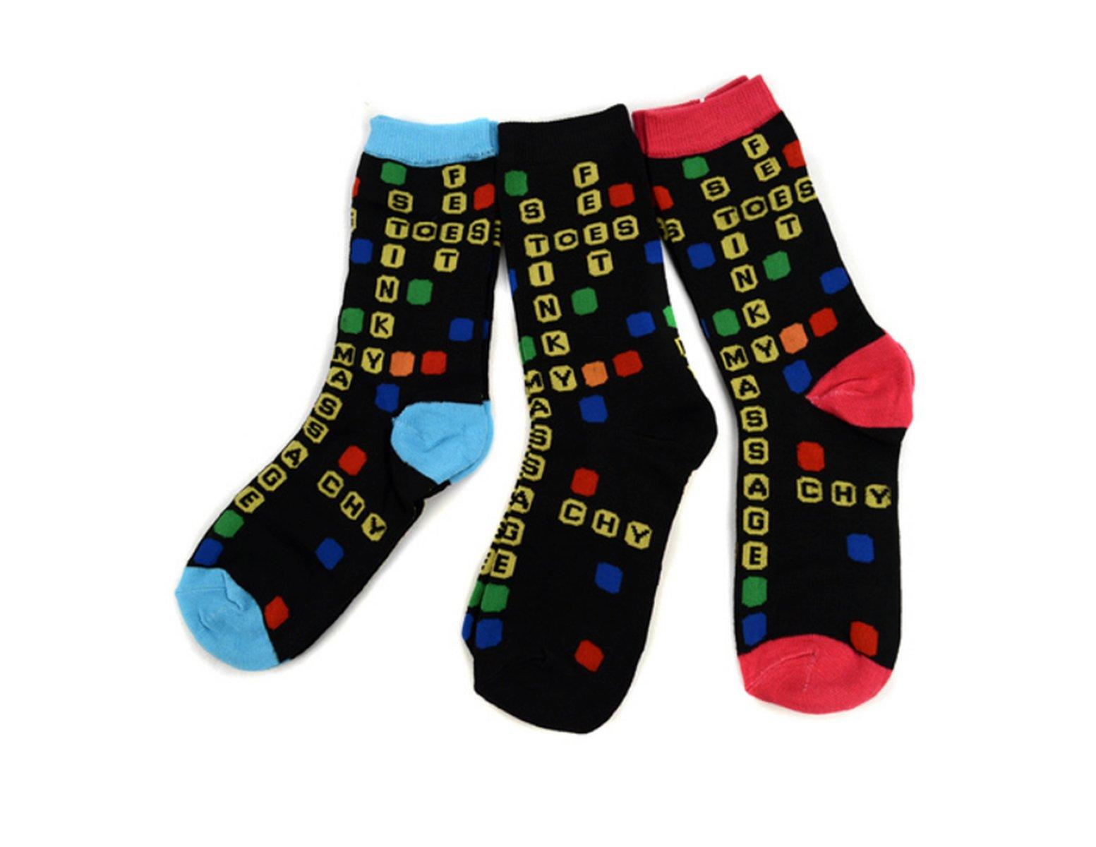 Women's Fun Crew Cute SCRABBLE Socks, 3-Pack, Sock Size 9-11 / Shoe Size 4-10, Great Gift! (Dark Pink, Light Blue, Black)