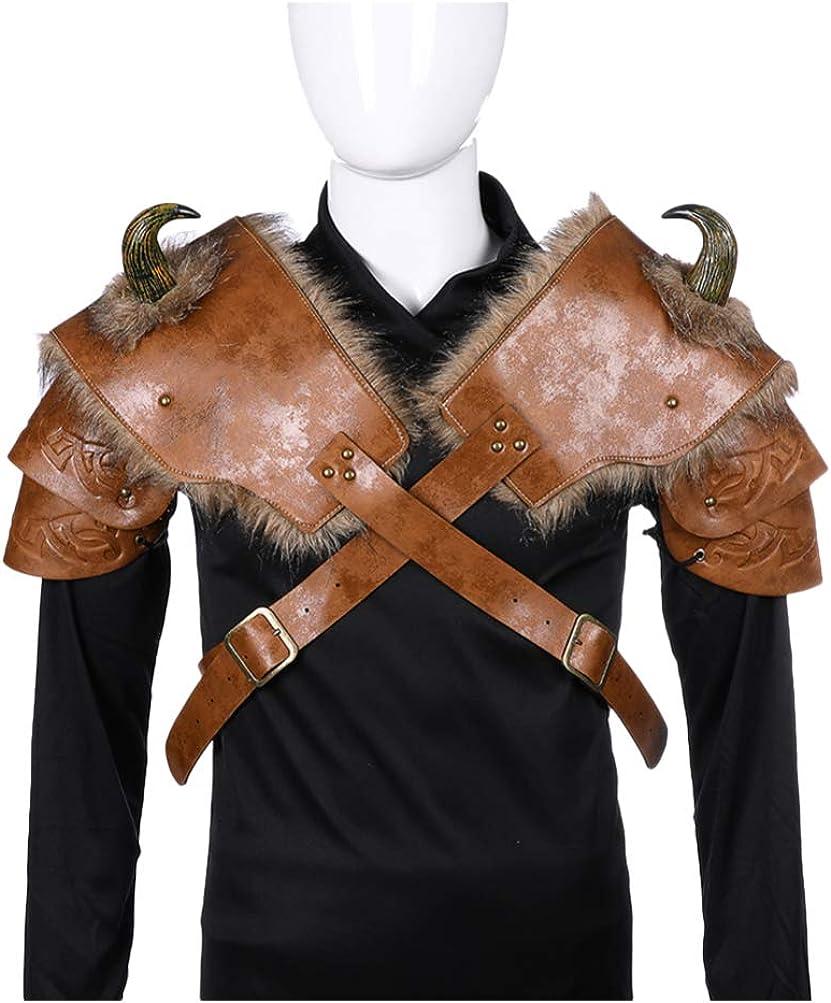 STOBOK Armadura de Hombro Cosplay Pu Cuero Clásico Traje de Vikingo Hombres Hombreras Guerreros Cubierta de Hombro para Fiesta de Cosplay (Izquierda)