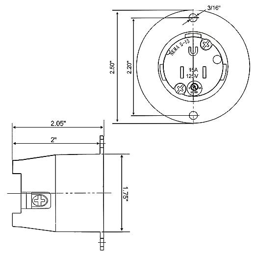 Cllena Nema 5 15 125v 15 Amp Flanged Power Inletoutlet Receptacle