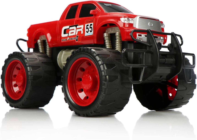 com-four® Camión Monstruo XL, vehículo de Cuerda para niños, Coche de Juguete Grande con Motor de fricción, Muy Divertido sin Electricidad (Rojo)