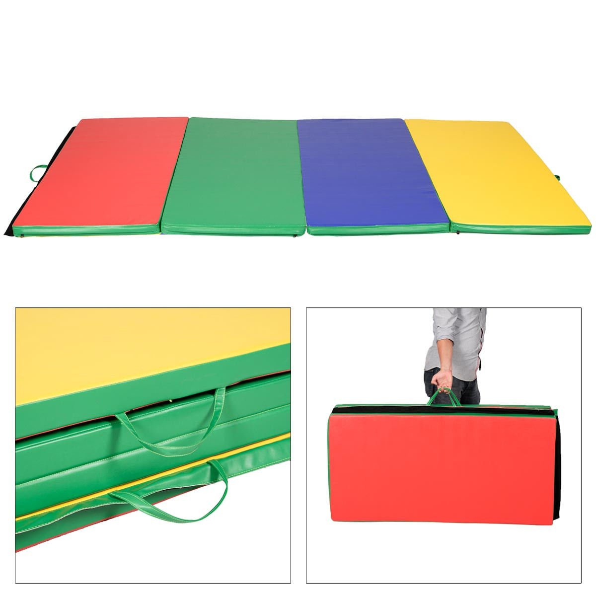 Generic 4 x8 x2 PU Gymnastics Mat Gym Folding Panel Exercise Tumbling Pad 4 Colors Yoga
