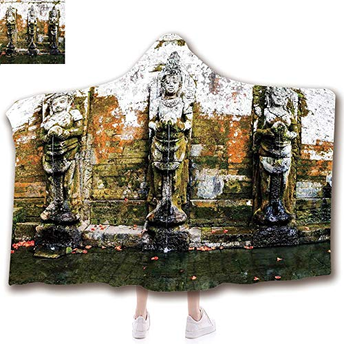 Fashion Blanket Ancient China Decorations Blanket Wearable Hooded Blanket,Unisex Swaddle Blankets for Babies Newborn by,Ancient Temple in Bali Asia Tropics Landmark Travel,Adult Style Children Style -