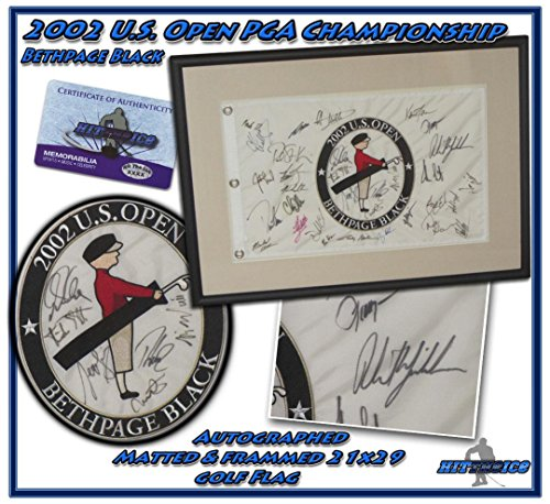 PHIL MICKELSON 2002 US OPEN CHAMPIONSHIP SIGNED GOLF FLAG CUSTOM FRAMED w/COA - Autographed Golf Pin Flags
