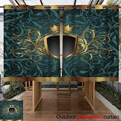 RenteriaDecor 0utdoor Curtains for Patio Waterproof Gold Vintage Frame with Heraldic Elements (Crown Shield) seaml W96 x L72