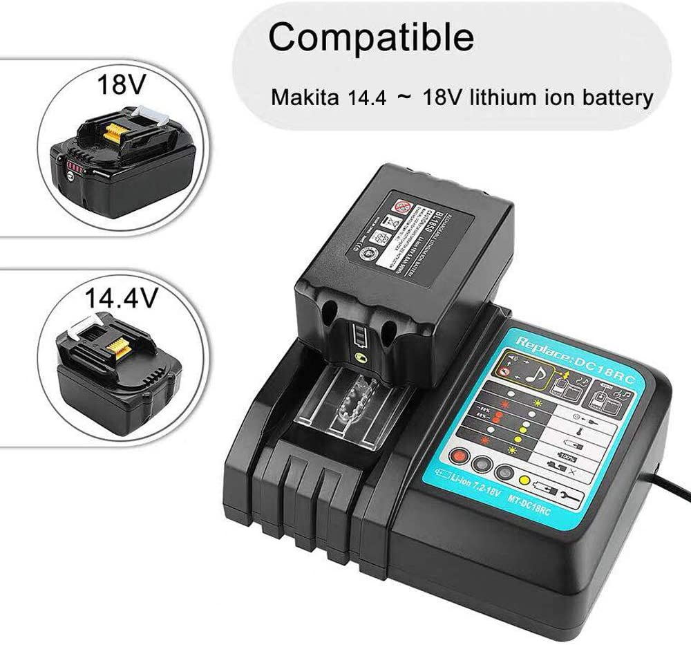 18V 5.0Ah Replacement Battery + 3A Charger for Makita BL1840 BL1830 BL1850 LXT400 Replacement DC18RA DC18RC 3A 14.4V ~ 18V Charger (Battery + Charger) Battery + Charger