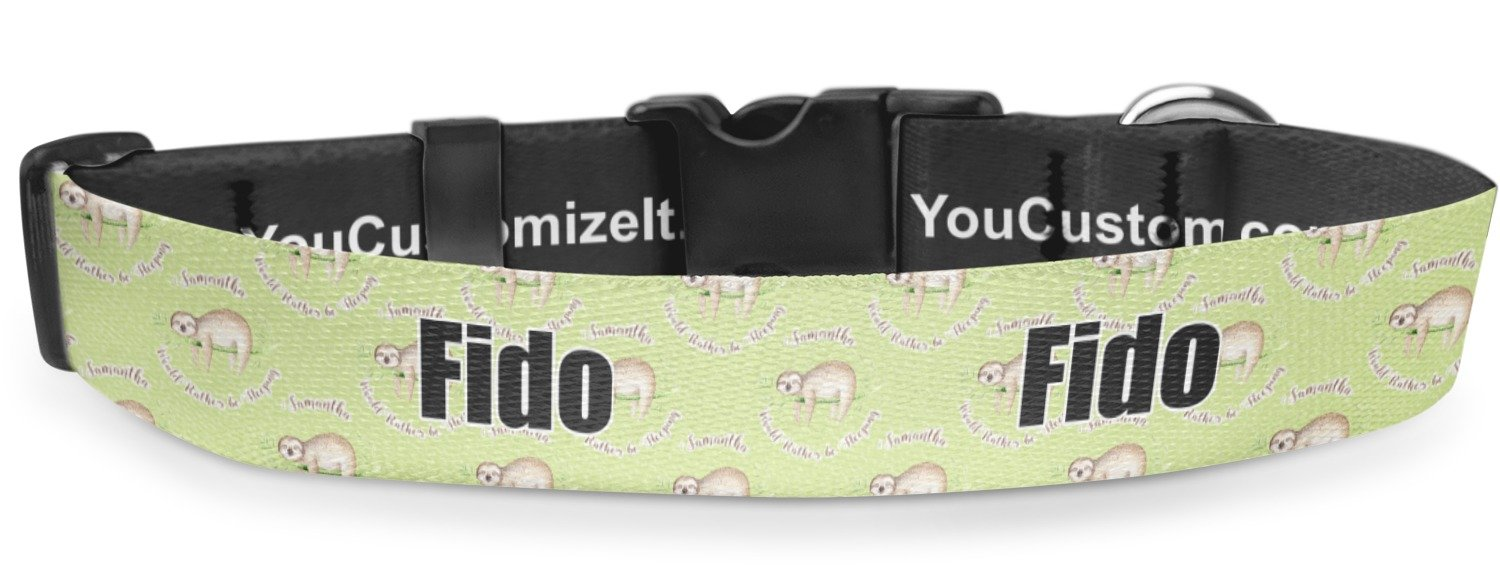 RNK Shops Sloth Deluxe Dog Collar - Toy (6'' to 8.5'') (Personalized)