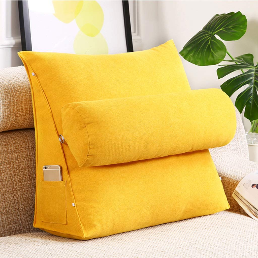 Lil with Headrest Sofa Waist Belt Triangle Cushion, Bed Head Large Office Backrest, Protection Neck Pillow,Removable Washable (Color : Lemon Yellow, Size : 605020cm)