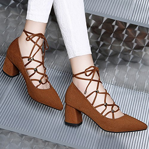 HGTYU-Autumn All Match Shoes Fashion Shoes With Thick High Heeled Shoes 6Cm Leisure Female Personality Camel emJMTis