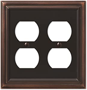 Amerelle Continental Double Duplex Cast Metal Wallplate in Aged Bronze