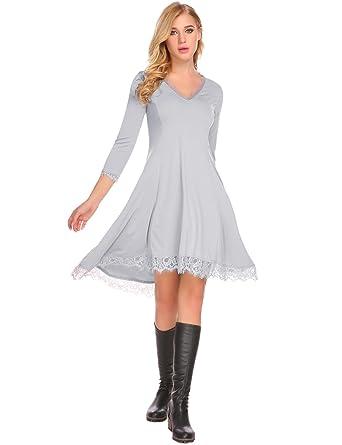 a94761de96c Mofavor Women s Pockets Casual Swing T-Shirt Dresses Long Sleeve Tunic Top  Grey S