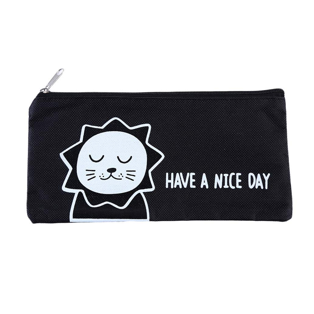 KISSFRIDAY Cute canvas office supplies storage bag cartoon large capacity bag(style 1)