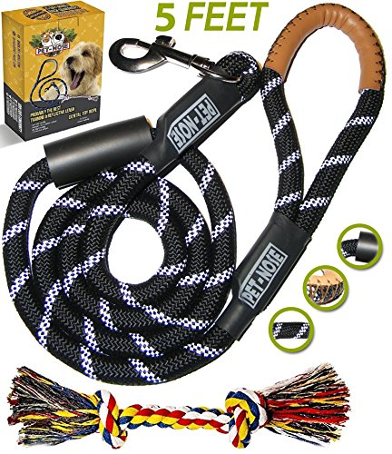 Heavy Duty Rope Leash (Strong Dog Leash for Medium and Large Breeds, Chew Resistant Mountain Climbing Training Rope & Sturdy Padded Handle for No Pulling Dogs - 5 FT Long Heavy Duty Reflective Lead for Night Walking (BLACK))