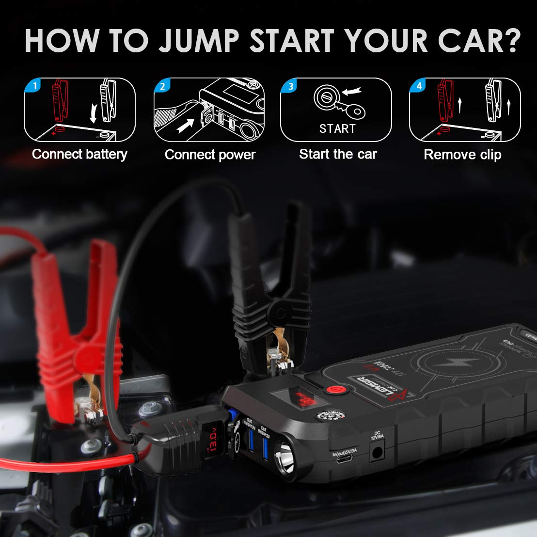 LEMSIR V1 QDSP 2000A Peak 21000mAh Car Jump Starter, Portable 12V Auto Battery Jumper up to 8.0L Gas, 8.0L Diesel, Booster Power Pack with Smart Jumper Cables,Wireless Charger by LEMSIR (Image #9)