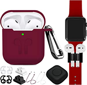 AirPods Case Cover Compatible Apple Airpods 2 & 1[Front LED Visible],9 in 1 Kits Airpods Accessories Protective Silicone Skin with Airpods Watch Band Holder/Ear Hook/Strap/Clip/Keychain-Burgundy