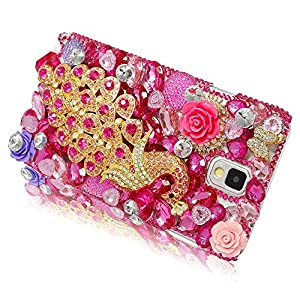 Galaxy S6 Edge Case, Diamond Sparkle Bedazzled Jeweled Bling Handmade Full 3D Crystal & Rhinestone Peacock Decor Snap-on Hard Hot Pink Cover with Phone Velvet Pouch for Samsung Galaxy S6 Edge