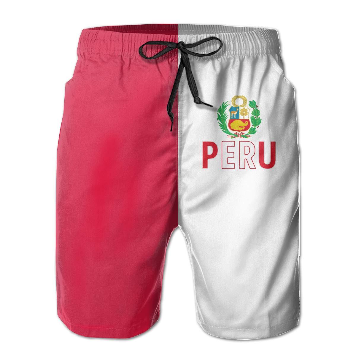 Polyester Peru Flag Peruvian Board Shorts with Pockets Xk7@KU Mens Casual Swim Trunks