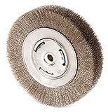 6'' Crimped Wire Wheel Brush, Arbor Hole Mounting, 0.006'' Wire Dia, 1-1/8'' Bristle Trim Length, 1 EA