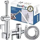 Handheld Bidet Toilet Sprayer Kit,SonTiy Hand Held Cloth Diaper Sprayer for Toilet Water Sprayer Polished Chrome for…