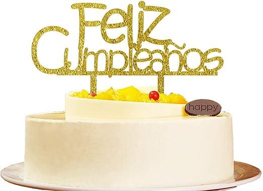 Amazon.com: Feliz Cumpleanos Gold Acrylic Cake Topper for ...