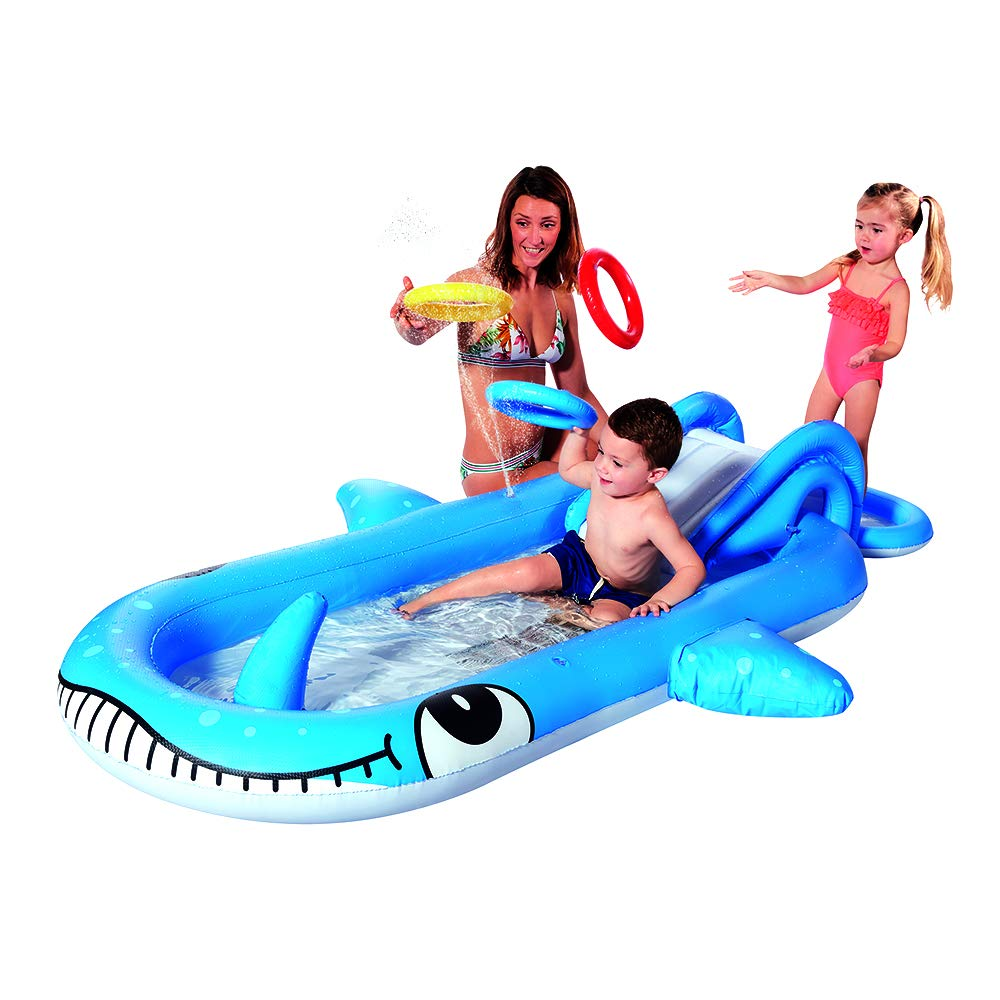 4-in-1 Whale Inflatable Water Slide & Wading Pool & Ring Toss Game & Splash Sprayer Sprinkler for Kids Outdoor Backyard Summer Pool and Water Fun Party Play (Whale) by Posch Sports