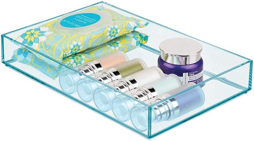 mDesign Cajas de plástico para organizar maquillaje – Organizador de cosméticos apilable para baño o tocador – Caja de maquillaje para labiales, antiojeras y más cosméticos – azul océano: Amazon.es: Hogar
