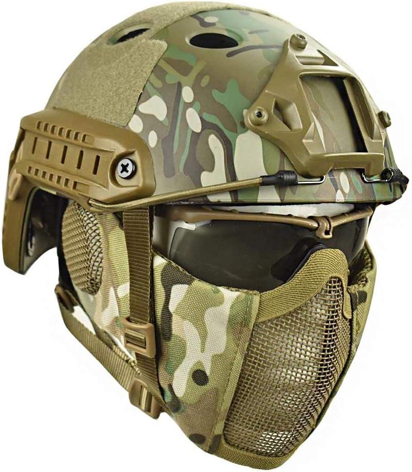 WLXW Conjunto de Gafas Protectoras de Casco y Media Máscara Táctica Rápida Y Máscara UV, Camuflaje en la Selva, Pistola de Aire de Paintball Tiro Caza Equipo de Protección De Tiro,CP