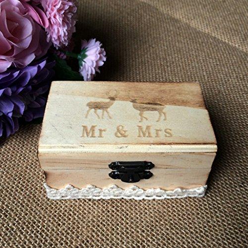 Jili Online Wedding Party Wooden Ring Bearer Box Ring Box Ring Pillow Box Lover Gift Box by Jili Online (Image #2)