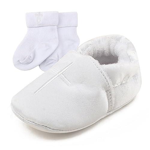 Delebao Baby Taufe Schuhe Babyschuhe Taufschuhe Lauflernschuhe Kinderschuhe Weiß Weiche Sohle Leder Pu Kleinkind