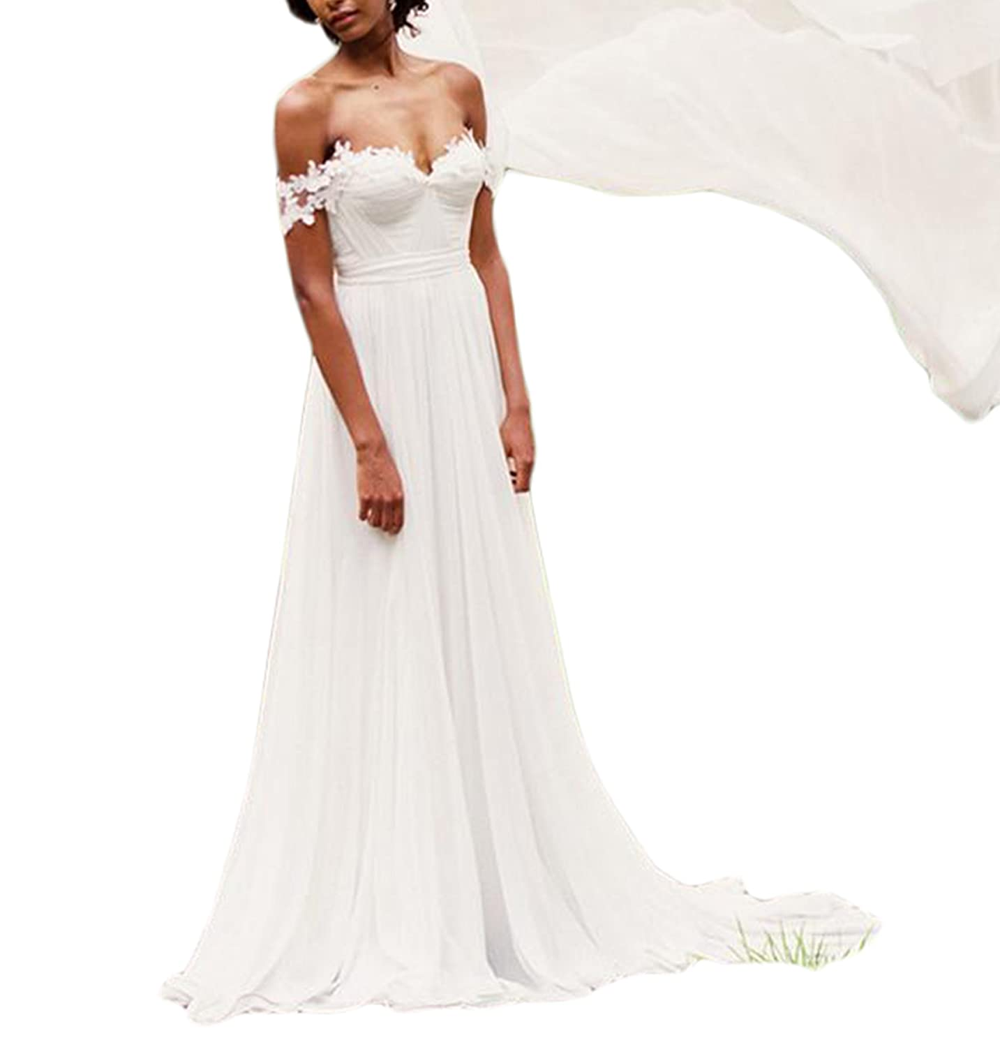 Vweil Country Rustic Vestidos de Novia Sexy Chiffon Lace Bridal Wedding Gowns Women VD62 at Amazon Womens Clothing store: