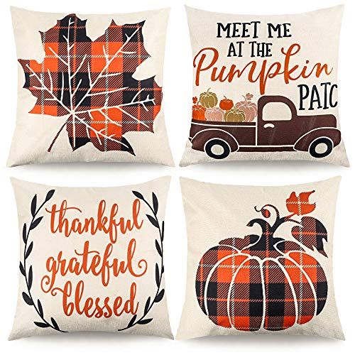 CDWERD 4pcs Fall Pillow Covers Decorative Farmhouse Autumn Theme Throw Pillow Case Cushion Cover Maple Leaf Pumpkin Cotton Linen Home Decor 18 x 18 Inches (Cushions Fall Outdoor)